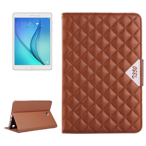 Diamond Pattern Flip Leather Case for Samsung Galaxy Tab A 8.0 with Card Slots and Holder (Brown)