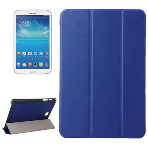 Karst Texture Leather Case for Samsung Galaxy Tab A 8.0 / T350 with 3-folding Holder (Blue)