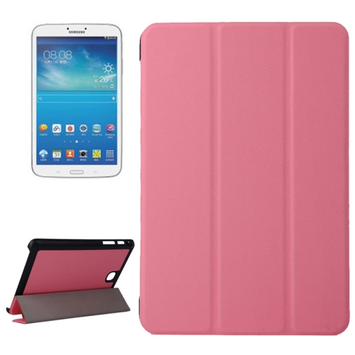 Karst Texture Leather Case for Samsung Galaxy Tab A 8.0 / T350 with 3-folding Holder (Pink)