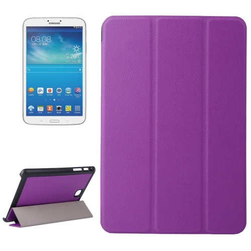 Karst Texture Leather Case for Samsung Galaxy Tab A 8.0 / T350 with 3-folding Holder (Purple)