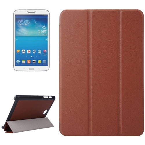 Karst Texture Leather Case for Samsung Galaxy Tab A 8.0 / T350 with 3-folding Holder (Brown)