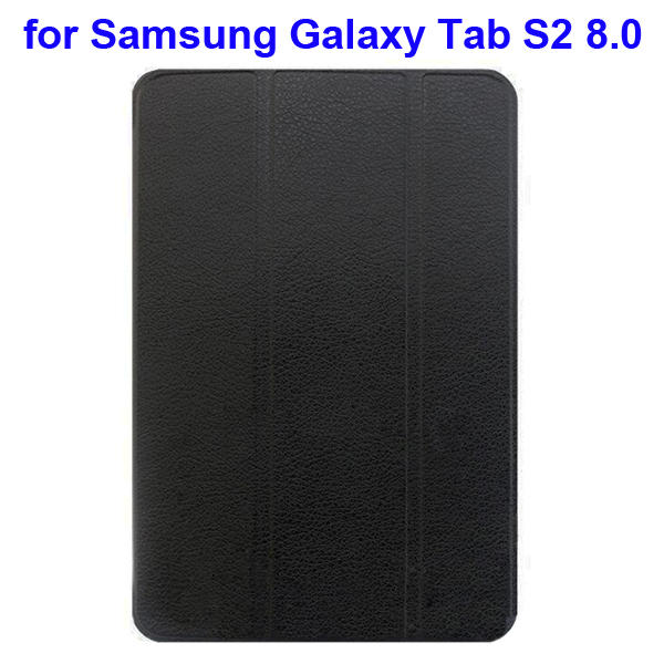 Litchi Texture 3-Folding Flip Leather Smart Case for Samsung Galaxy Tab S2 8.0 (Black)