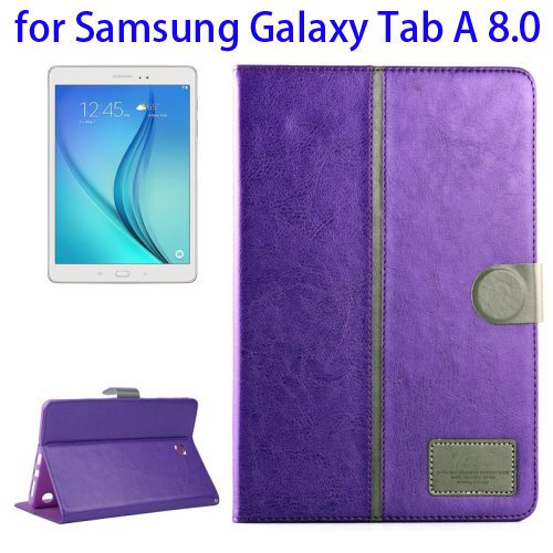 Crystal Texture Horizontal Flip Leather Tablet Case for Samsung Galaxy Tab A 8.0 with Holder & Card Slots (Purple)