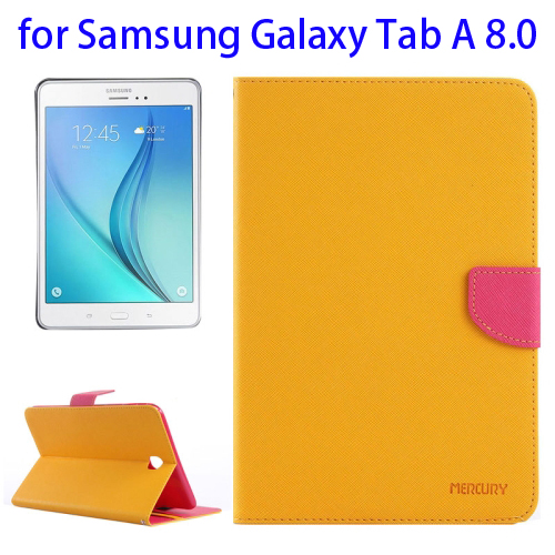 Mercury Cross Texture Leather Flip Case for Samsung Galaxy Tab A 8.0 with Holder & Card Slots (Yellow)