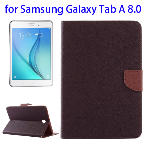 Mercury Cross Texture Leather Flip Case for Samsung Galaxy Tab A 8.0 with Holder & Card Slots (Brown)