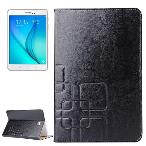 Crazy Horse and Lattice Texture Flip Stand Leather Wallet Case for Samsung Galaxy Tab A 8.0 T350 (Black)