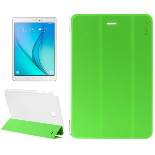 3 Folding Design Ultra Thin Transparent PC Back and PU Leather Front Tablet Case for Samsung Galaxy Tab A 9.7 (Green)