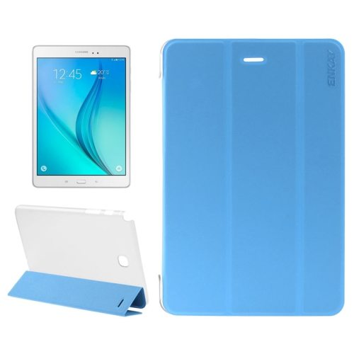 3 Folding Design Ultra Thin Transparent PC Back and PU Leather Front Tablet Case for Samsung Galaxy Tab A 9.7 (Baby Blue)