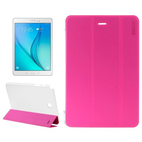3 Folding Design Ultra Thin Transparent PC Back and PU Leather Front Tablet Case for Samsung Galaxy Tab A 9.7 (Rose)