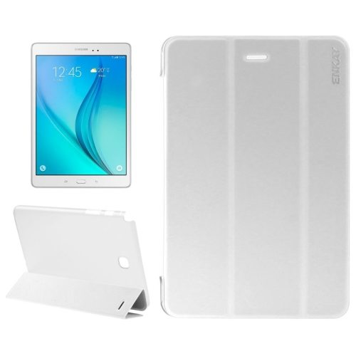 3 Folding Design Ultra Thin Transparent PC Back and PU Leather Front Tablet Case for Samsung Galaxy Tab A 9.7 (White)