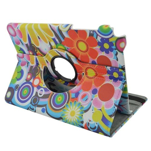 360 Degree Rotation Horizontal Flip Leather Case for Samsung Galaxy Tab A 9.7 / T550 with Holder (Colorful Flowers Pattern)