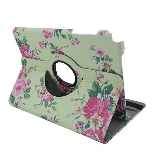 360 Degree Rotation Horizontal Flip Leather Case for Samsung Galaxy Tab A 9.7 / T550 with Holder (Pink Flowers Pattern)