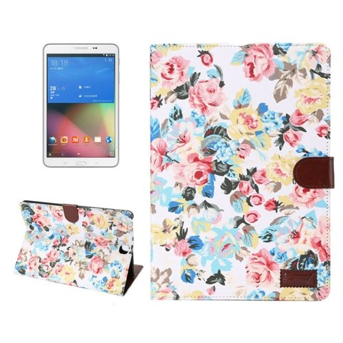 Flower Cloth Pattern with Wallet Style Leather Case for Samsung Galaxy Tab A 9.7 with Holder and Card Slots (White)