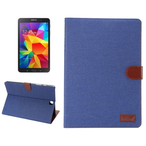 Denim Texture PU Leather Flip Case for Samsung Galaxy Tab A 8.0/ T350 with Holder & Card Slots (Blue)