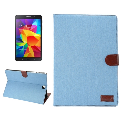 Denim Texture PU Leather Flip Case for Samsung Galaxy Tab A 8.0/ T350 with Holder & Card Slots (Baby Blue)