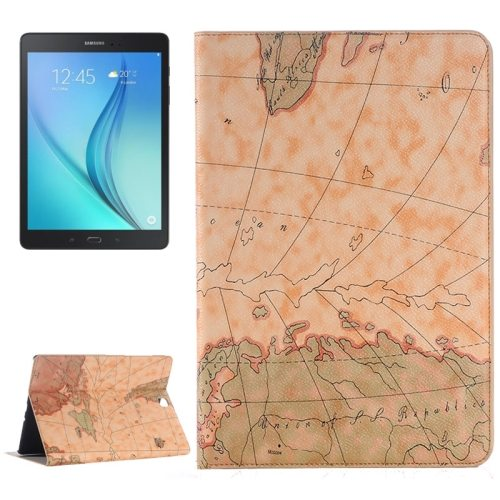 Map Pattern PU Leather Tablet Case Cover for Samsung Galaxy Tab A 9.7 4G LTE (Light Brown)