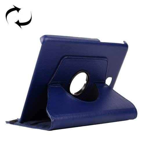 360 Degree Rotating Style Litchi Texture Leather Case for Samsung Galaxy Tab A 9.7 with Holder (Dark Blue)