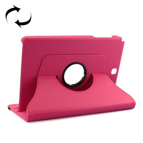 360 Degree Rotating Style Litchi Texture Leather Case for Samsung Galaxy Tab A 9.7 with Holder (Rose)