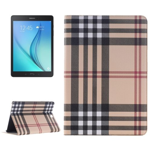 Plaid Pattern Leather Case for Samsung Galaxy Tab A 9.7 with Holder & Card slots (Beige)