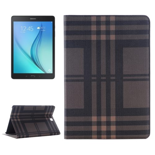 Plaid Pattern Leather Case for Samsung Galaxy Tab A 9.7 with Holder & Card slots (Brown)