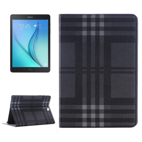 Plaid Pattern Leather Case for Samsung Galaxy Tab A 9.7 with Holder & Card slots (Black)
