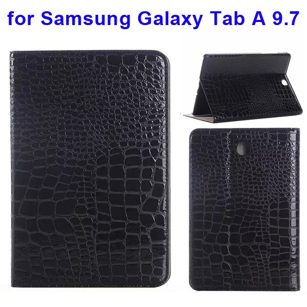 Crocodile Texture Leather Flip Case for Samsung Galaxy Tab A 9.7 wih Card Slots & Stand (Black)