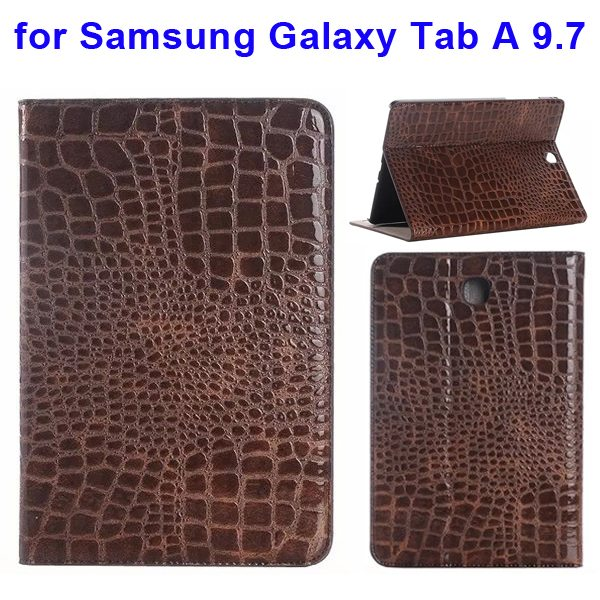 Crocodile Texture Leather Flip Case for Samsung Galaxy Tab A 9.7 wih Card Slots & Stand (Brown)