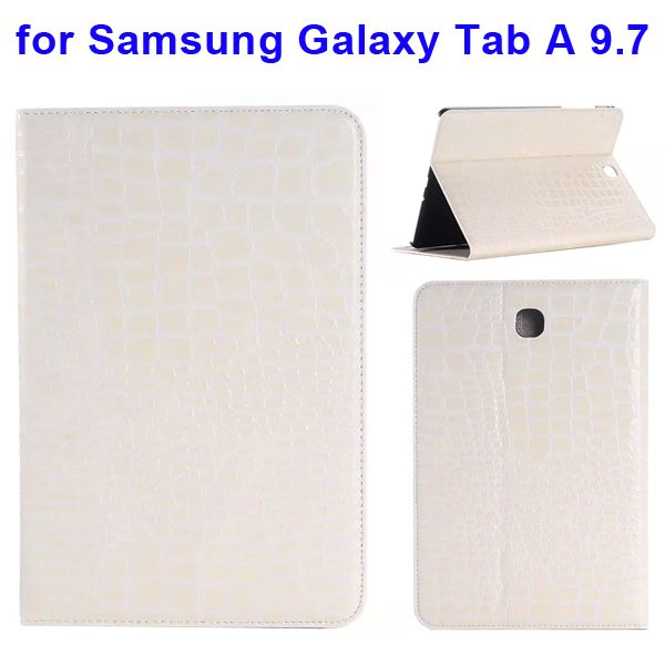 Crocodile Texture Leather Flip Case for Samsung Galaxy Tab A 9.7 wih Card Slots & Stand (White)