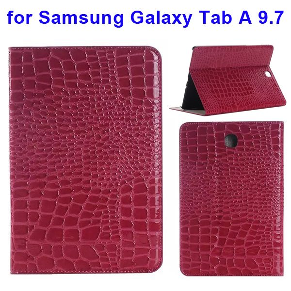 Crocodile Texture Leather Flip Case for Samsung Galaxy Tab A 9.7 wih Card Slots & Stand (Rose)