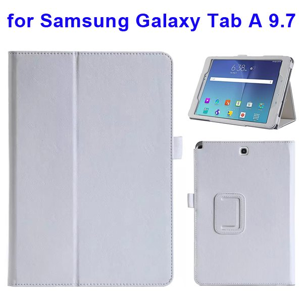Armband Wallet Style Leather Flip Case for Samsung Galaxy Tab A 9.7 (White)
