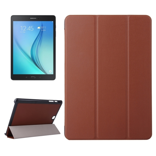 3 Folding Pattern Karst Texture Leather Flip Case for Samsung Galaxy Tab A 9.7 (Brown)