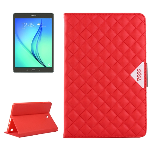 Diamond Pattern Flip Leather Case for Samsung Galaxy Tab A 9.7 with Card Slots and Holder (Red)