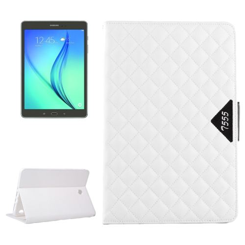 Diamond Pattern Flip Leather Case for Samsung Galaxy Tab A 9.7 with Card Slots and Holder (White)
