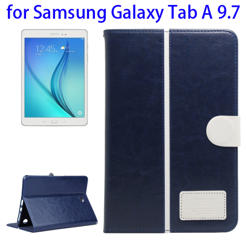 2-Tone Color Crystal Texture Leather Case for Samsung Galaxy Tab A 9.7 (Dark Blue+White)