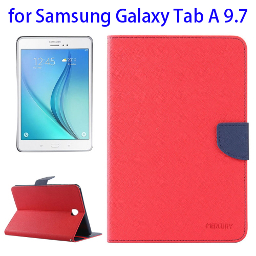 Mercury Cross Texture Leather Flip Case for Samsung Galaxy Tab A 9.7 with Holder & Card Slots (Red)