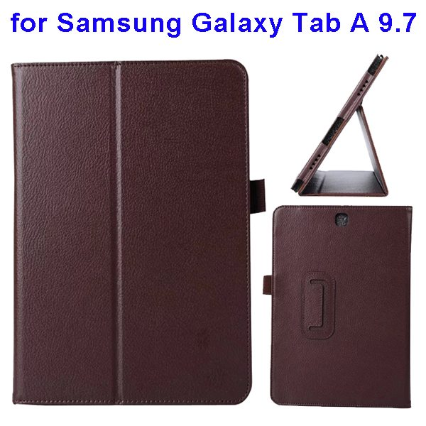 Litchi Texture Leather Flip Case for Samsung Galaxy Tab A 9.7 (Brown)