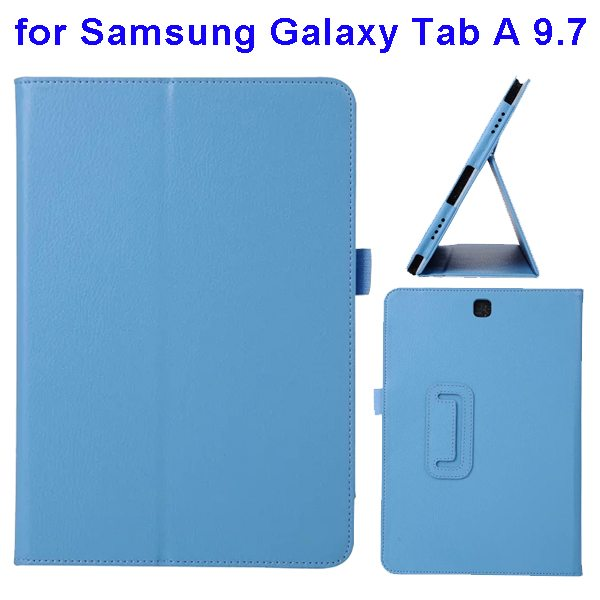 Litchi Texture Leather Flip Case for Samsung Galaxy Tab A 9.7 (Blue)