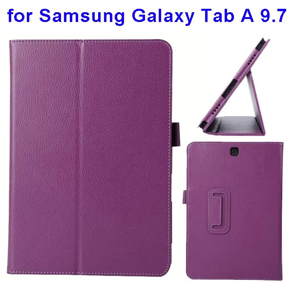 Litchi Texture Leather Flip Case for Samsung Galaxy Tab A 9.7 (Purple)