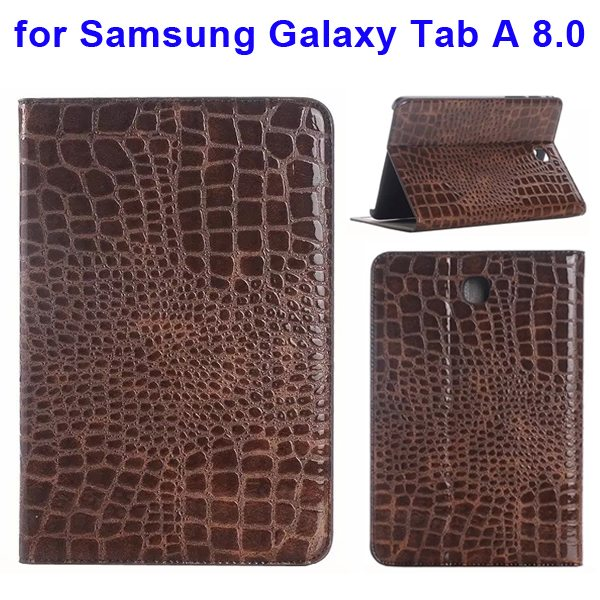 Crocodile Texture Leather Flip Case for Samsung Galaxy Tab A 8.0 & T350 (Brown)