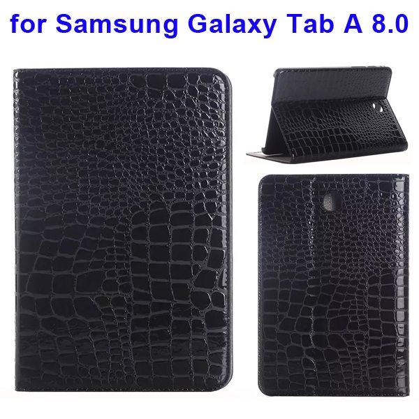 Crocodile Texture Leather Flip Case for Samsung Galaxy Tab A 8.0 & T350 (Black)