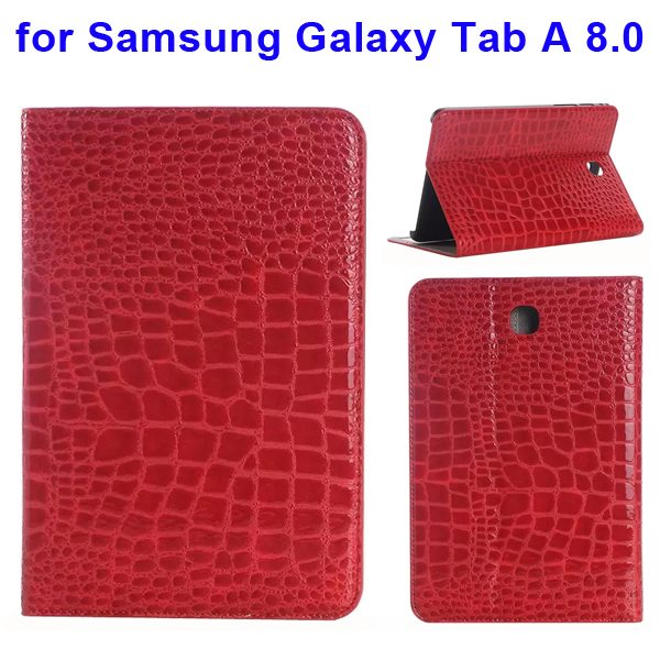 Crocodile Texture Leather Flip Case for Samsung Galaxy Tab A 8.0 & T350 (Red)