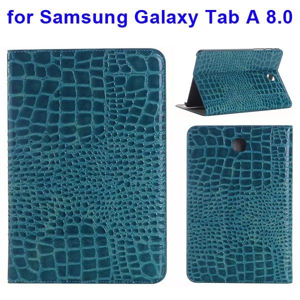Crocodile Texture Leather Flip Case for Samsung Galaxy Tab A 8.0 & T350 (Blue)