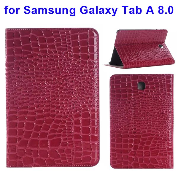 Crocodile Texture Leather Flip Case for Samsung Galaxy Tab A 8.0 & T350 (Rose)