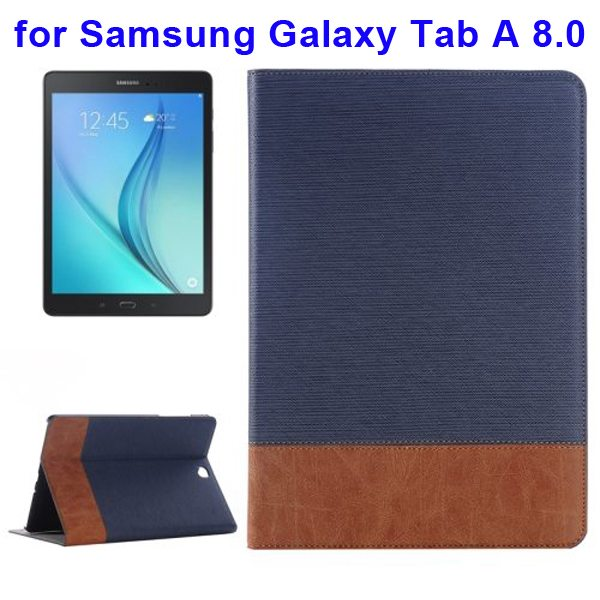 Cross Texture Leather Case for Samsung Galaxy Tab A 8.0 & T350  (Dark Blue)