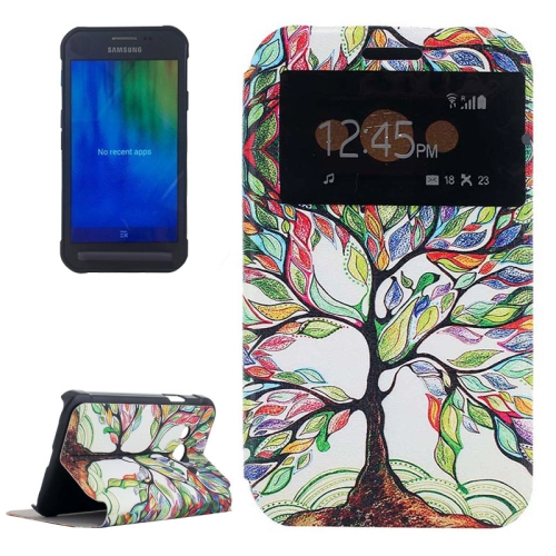 Newly Flip Leather Case for Samsung Galaxy Xcover 3/ G388F with View Window (Colorful Tree Pattern)