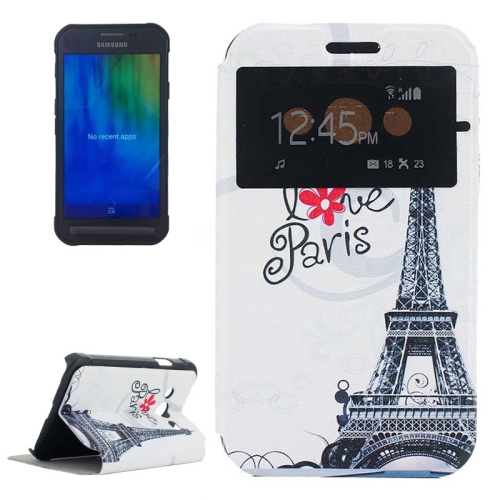 Newly Flip Leather Case for Samsung Galaxy Xcover 3/ G388F with View Window (Eiffel Tower Pattern)