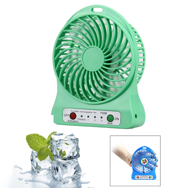 Hot Summer Rechargeable Handheld Portable Mini Fan with Strong Wind For Travel (Green)