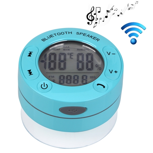IPX4 Waterproof Bluetooth Shower Speaker Support Temperature and Humidity Display (Blue)