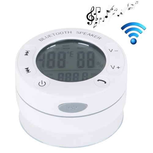 IPX4 Waterproof Bluetooth Shower Speaker Support Temperature and Humidity Display (White)