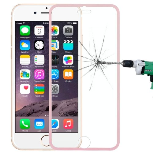 LOPURS 0.3mm Dustproof Explosion-proof Narrow Bezel Colored Full Screen Tempered Glass Screen Protector for iPhone 6 Plus (Pink)